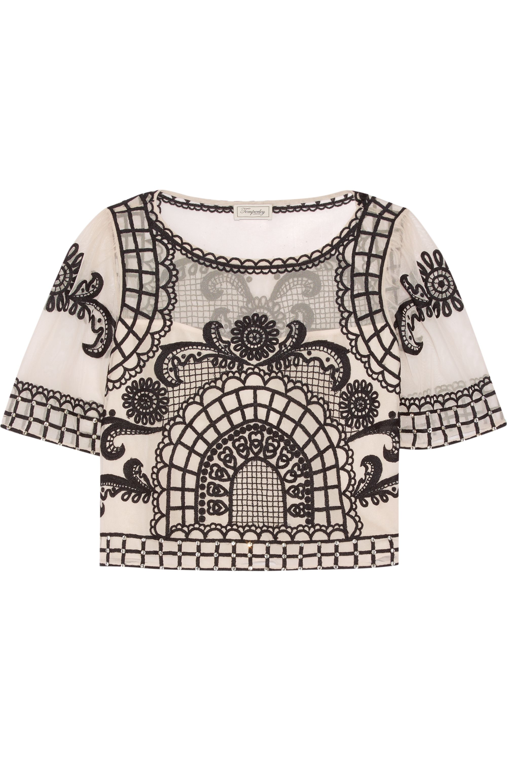 Temperley London Delphia cropped embroidered tulle top