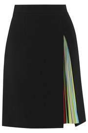 Nema twill and pleated satin mini skirt