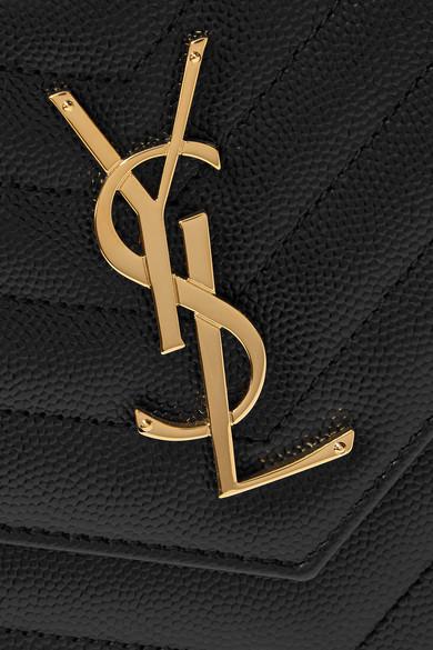 Saint Laurent Monogramme mini Schultertasche aus gestepptem strukturiertem Leder