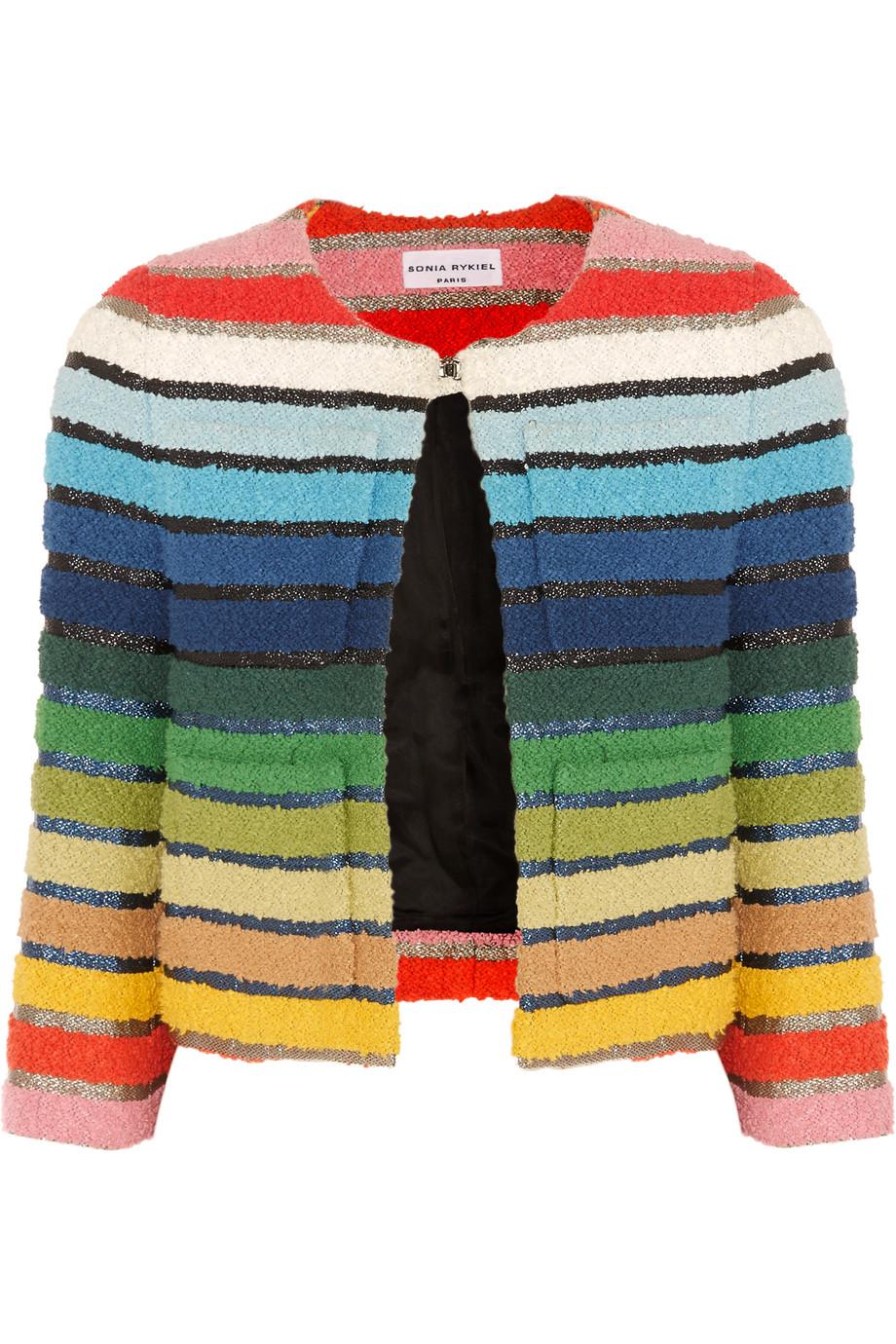 Sonia Rykiel Metallic-Striped Cotton-Blend Terry Jacket, Blue/Yellow, Women's, Size: 42