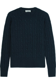 Cable-knit wool, silk and cashmere-blend sweater