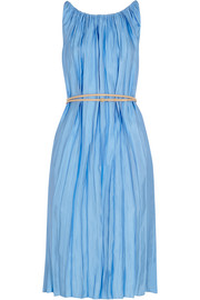 Pleated satin-twill dress
