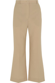 Cropped woven wool flared pants