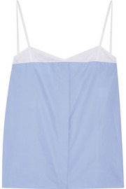 Cotton-poplin and mesh camisole