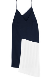 Pleated linen-paneled wool dress