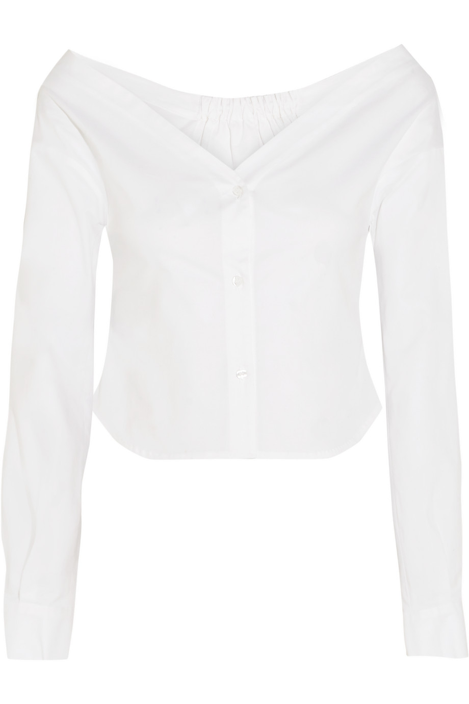 Off-the-Shoulder Stretch-Cotton Poplin Blouse, Size: 40