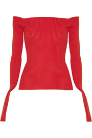 Off-the-shoulder ribbed cotton-blend sweater
