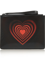 Lenticular PVC-paneled leather clutch