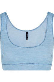 Zani stretch-denim sports bra