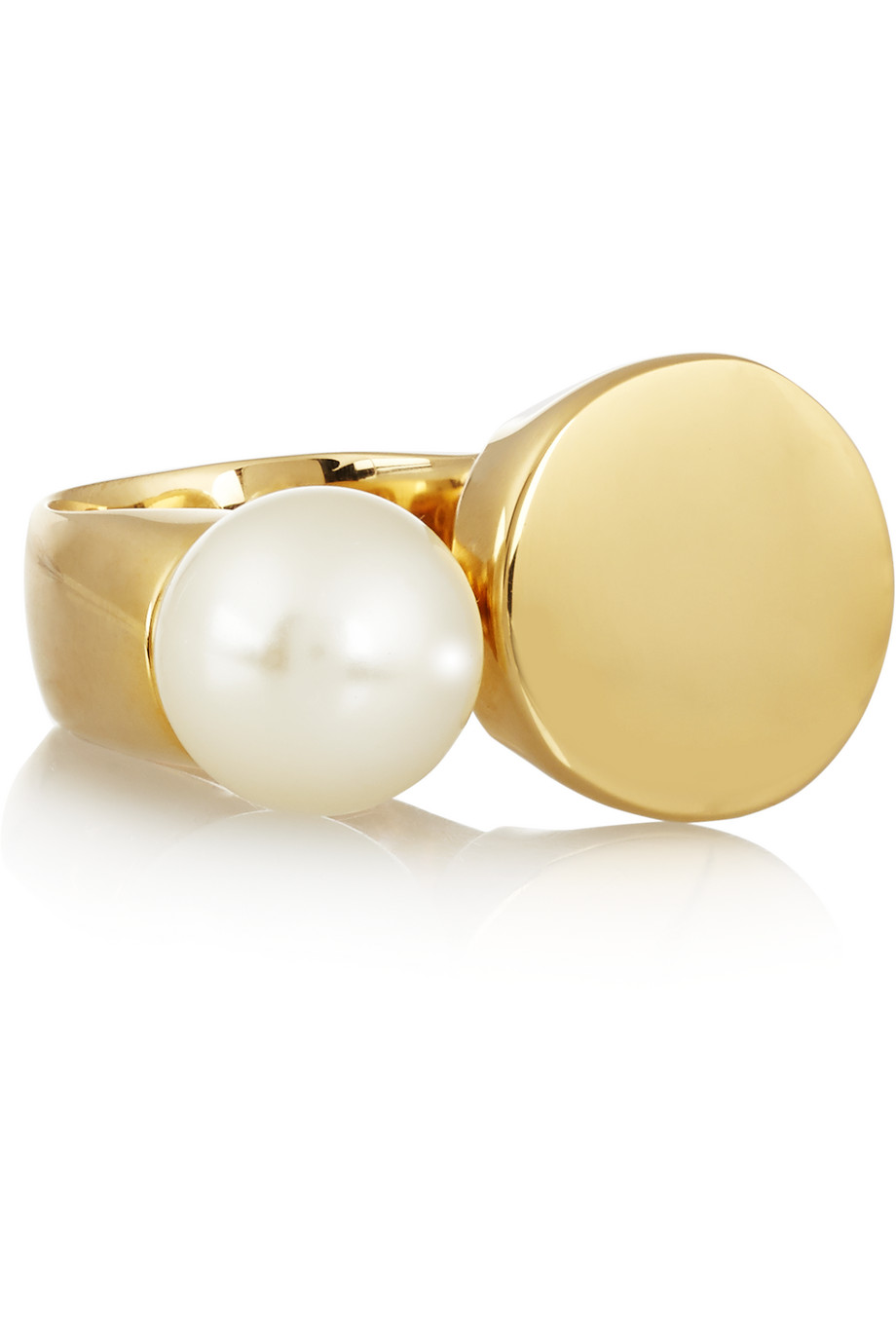 Chloé Darcey Gold-Tone Swarovski Pearl Ring, Gold/White, Women's, Size: 52
