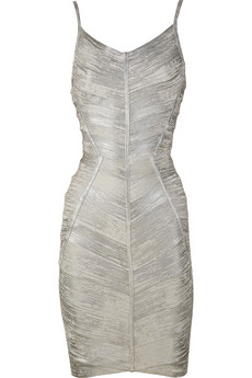 Hervé Léger Metallic bandage dress