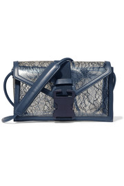 Christopher Kane Safety Buckle leather-trimmed lace and PVC shoulder bag