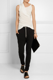 Rick Owens Shell-trimmed stretch-cotton jersey track pants