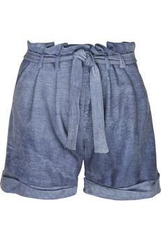 Thakoon Leather denim-effect day shorts