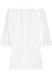 Tabitha off-the-shoulder crochet-paneled cotton-voile dress