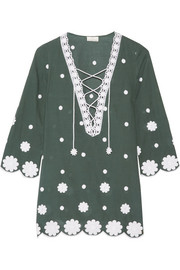 Daria embroidered cotton-voile kaftan