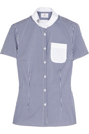 Gingham perforated stretch cotton-blend top