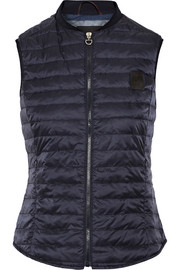 Stretch jersey-trimmed quilted shell down gilet