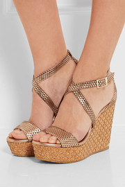 Jimmy Choo Portia embossed leather wedge sandals