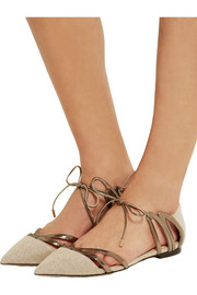 Jimmy Choo Hime cutout canvas and mirrored-leather point-toe flats