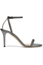 Jimmy Choo Minny textured-lamé and metallic leather sandals