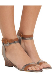 Mansy metallic-paneled leather wedge sandals