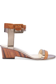 Jimmy Choo Mansy metallic-paneled leather wedge sandals