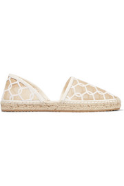 Jimmy Choo Dreya embroidered mesh espadrilles