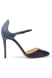 Jimmy Choo Marny elaphe and raffia pumps