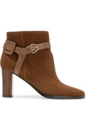 Hose leather-trimmed suede ankle boots