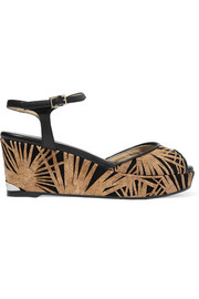 Perla cork-appliquéd suede wedge sandals