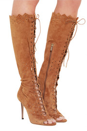 Davy perforated suede peep-toe knee boots