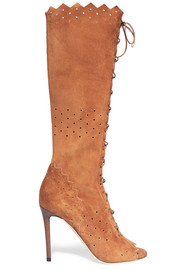 Jimmy Choo Davy perforated suede peep-toe knee boots