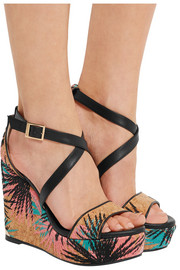 Jimmy Choo Portia embroidered cork and leather wedge sandals