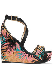 Portia embroidered cork and leather wedge sandals