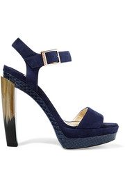 Jimmy Choo Dora elaphe-trimmed suede sandals