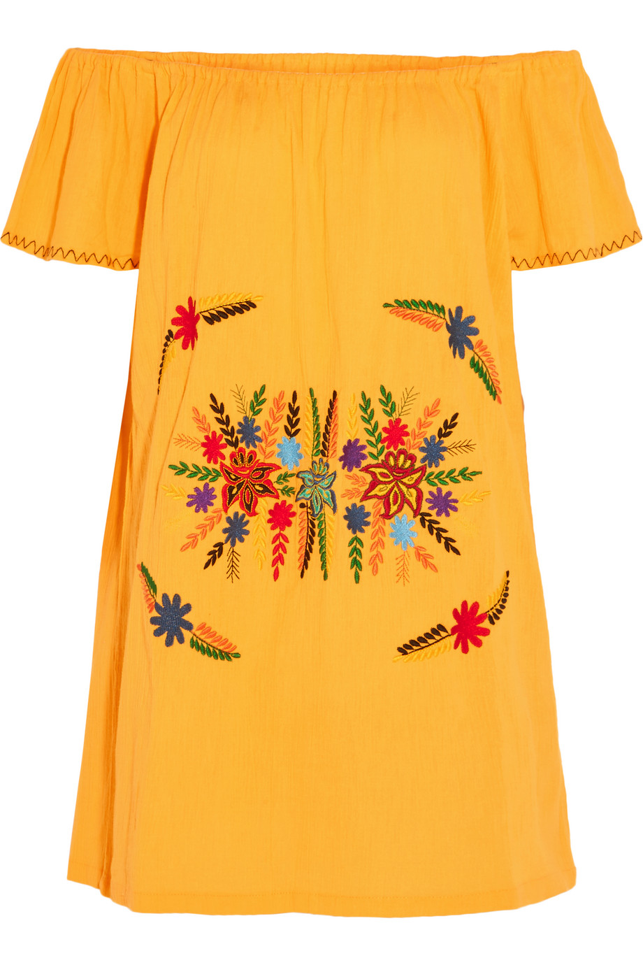 Sensi Studio Off-the-Shoulder Embroidered Cotton Mini Dress, Yellow, Women's