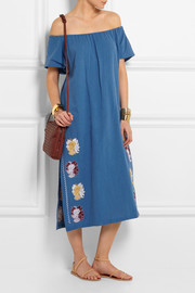 Off-the-shoulder embroidered cotton dress