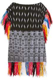 Macana fringed woven cotton mini dress