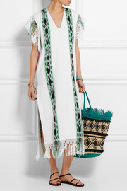 Macana fringed woven cotton dress