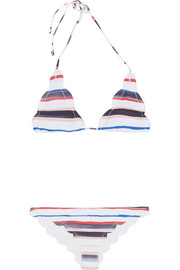 Broadway scalloped striped triangle bikini