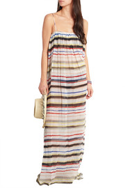 Carmel striped cotton and silk-blend gauze maxi dress