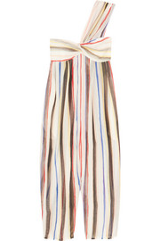 Venice striped cotton and silk-blend jumpsuit
