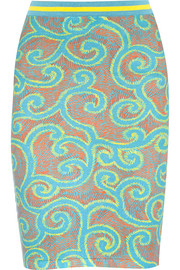 Printed stretch cotton-blend skirt