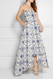 Strapless printed cotton and silk-blend faille gown