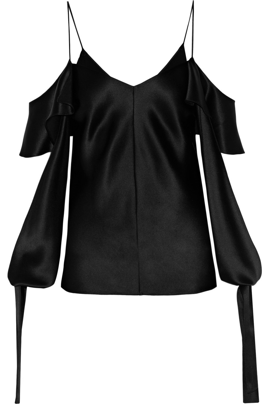 Amalfi Draped Cutout Silk-Satin Blouse, Black, Women's, Size: 10