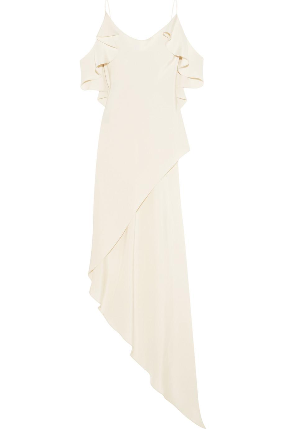 Spiral Ruffled Asymmetric Silk-Satin Camisole, White, Women's, Size: 4