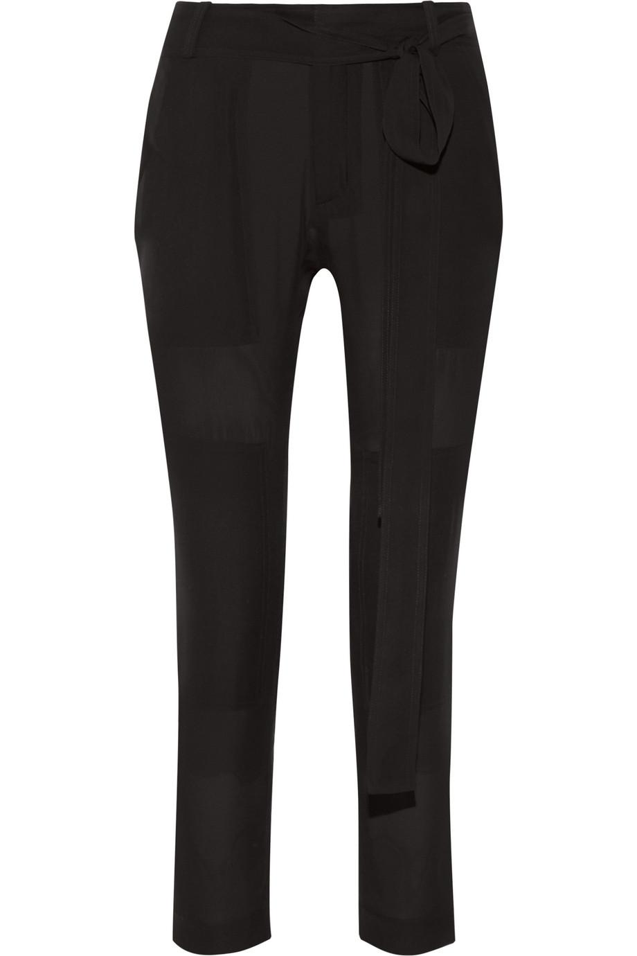 Poolside Tonka Silk-Georgette Skinny Pants, Black, Women's, Size: 6