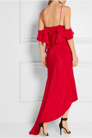 juan carlos obando spiral ruffled asymmetric silk satin dress net a porter com. Black Bedroom Furniture Sets. Home Design Ideas