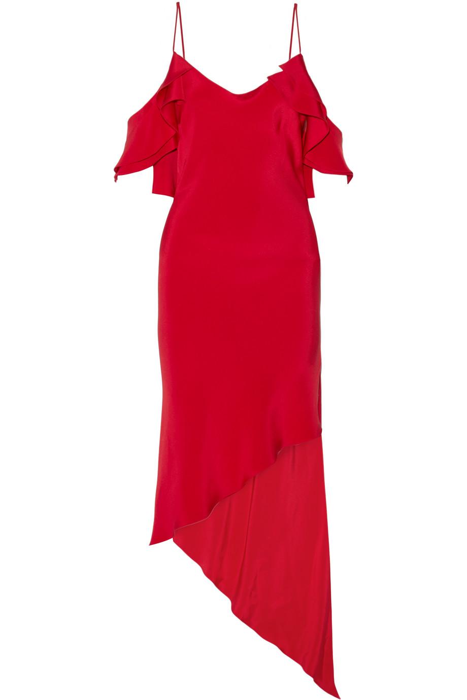 Spiral Ruffled Asymmetric Silk-Satin Dress, Red, Women's, Size: 10